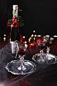 Homemade cherry liqueur for Christmas