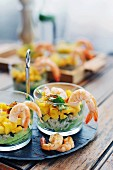 Mango and avocado salad with shrimps
