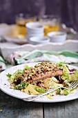 Lachs mit Sesam, Sprossen, glutenfreien Tagliatelle und Salat