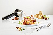 Saddle of lamb with mashed potatoes and chestnuts