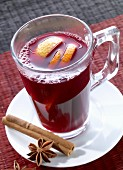 Red wine punch with oranges, cinnamon and star anise