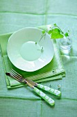 Spring place setting in shades of green