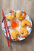 Breaded prawns with a sweet chilli sauce