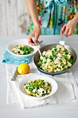 Orecchiette with green peas, ricotta and lemons