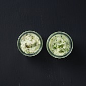 Cucumber raita and tzatziki in small bowls