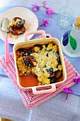 Oat and damson crumble with liqueur