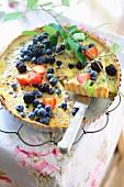 Summer fruit cake with crème caramel and crème fraîche