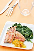Grey mullet with apricot vinaigrette and spinach