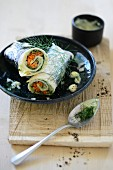 Wraps with cucumber soya, grated carrot and dill