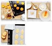 Baked apricots with almond pastries being made