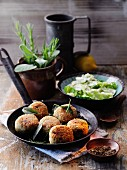 Almond and spelt rice balls with lemon savoy cabbage à la Hildegard von Bingen