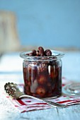 Classic rum compote in a preserving jar