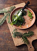 Pine sprigs and shoots being chopped for pine salve à la Hildegard von Bingen
