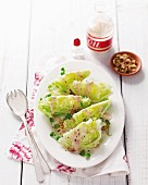 Iceberg lettuce wedges with a walnut vinaigrette