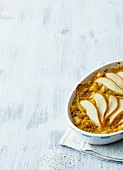 Vegan quinoa and pear bake with soy milk