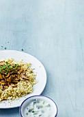 Cauliflower rice with mushrooms and tzatziki