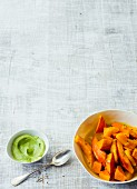 Sweet potato and Hokkaido pumpkin with an avocado dip
