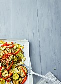 Oven-baked vegetarian ratatouille with feta cheese