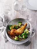 Fried chicken leg with broccoli (LCHF)