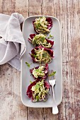 Courgette salad on radicchio leaves (post fasting)