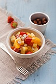 Fruit salad with dried fruit and hazelnuts (post fasting)