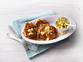 Potato and carrots fritters with pineapple salsa