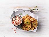 Sauerkraut fritters with pepper cream