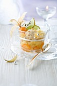 Verrine with ice cream and exotic fruit