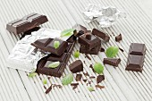 Chocolate and mint leaves