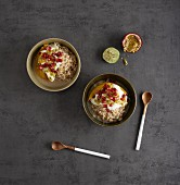 Miso porridge with brown rice and exotic fruit