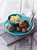 Venison meatballs with coleslaw