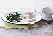 Steamed cod with spinach and a soy and mustard dressing
