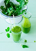 Green wild herb and fruit smoothie