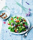 Wildkräutersalat mit Avocado, Erdbeeren und Croutons