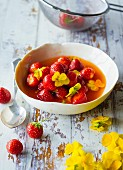 Marinated strawberries with scented violets