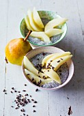 Chia pudding with pears and cocoa nibs