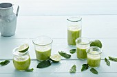 Mint and avocado smoothies with anise and lime