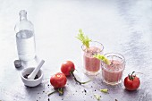 Spicy tomato and celery smoothies