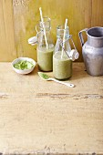 Celery and banana smoothies with aloe and barley grass powder