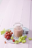 A grape smoothie with bananas, ginger, acai powder and pepper