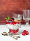 Chia pudding with raspberries