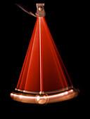Simple pendulum photographed in mid-swing