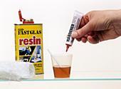 Catalytic hardening of fibreglass resin