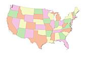 Four colour problem,map of the USA