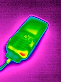 Mobile phone on charge,thermogram
