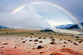 Rainbow over geothermal vent