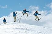 Ski jumping,composite image