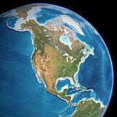 North America,topographic map