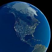 North America at night,satellite image
