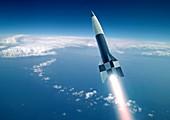 First V-2 rocket launch,artwork